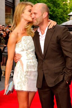 Jason Statham and Rosie Huntington-Whiteley at a London premiere last night.