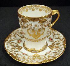 Elegant Antique Pouyat Limoges Chocolate Cup & Saucer