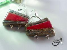Orecchini in ceramica Raku rosso e argento di LaTerraCanta su Etsy, €30.00