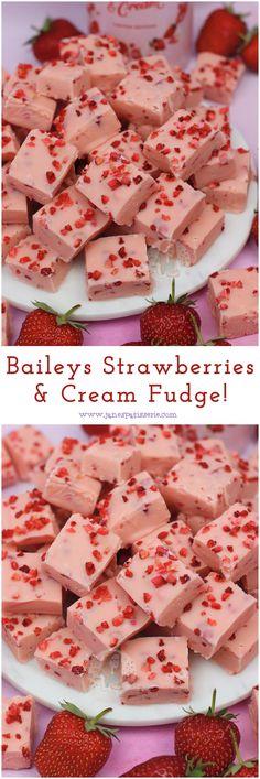 Baileys Strawberries & Cream Fudge, made with only five ingredients! Baileys Strawberries & Cream Fudge, made with only five ingredients! Baileys Torte, Baileys Fudge, Baileys Recipes, Fudge Recipes, Dessert Recipes, Candy Recipes, Strawberry Fudge Recipe, Strawberries And Cream Recipe, Strawberry Pudding