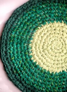 She explains how to increase each row, to keep it flat. how To: Make An Upcycled Crochet Rug