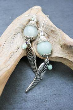 Boucles d'oreilles ailes d'ange argentées et vert d'eau, amazonite et argent 925 : Boucles d'oreille par marathi-bijoux