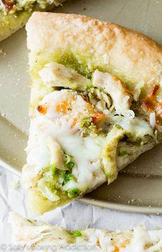 Roasted Garlic Chicken & Mozzarella Pizza with Homemade Basil Pesto on sallysbakingaddiction.com