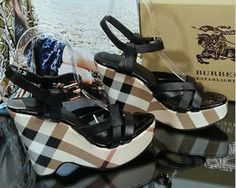 Burberry Check Wedge Sandals Black