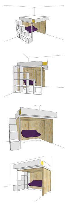 DIY double loft bed Carlota by neo-eko-diy-furnitureplans. Modern ...
