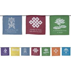 TIBETAN PRAYER FLAG COTTON Wicca Pagan Witch New Age Goth Hippie Spell Yoga