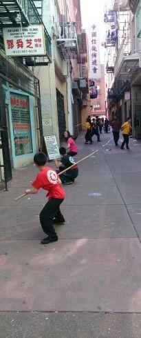 Martial art practice, China Town, San Francisco