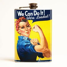 """Join Rosie and her all American """"We Can Do it Attitude"""". This classic is from the ever-popular WWII homefront propaganda art and looks stunning on this convenient flask. We Can Do It, Have Fun, Coca Cola, Joining The Military, Propaganda Art, Rosie The Riveter, Best Gifts For Men, New Job, Fun Drinks"""