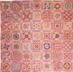 Sampler Album Quilt, 1846. Made by the Ladies of Mt. Sinai Church Group. Suffolk Co, New York.