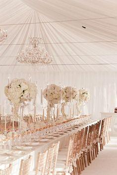 Reception tent featuring beautiful rose gold décor. Photo Source: pinterest #receptiontent #rosegolddecor