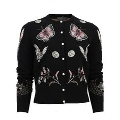 Alexander Mcqueen Butterfly Crop Cardigan ($1,775) ❤ liked on Polyvore featuring tops, cardigans, long cardigan, slim fit cardigan, crew neck crop top, crew neck cardigan and pink top