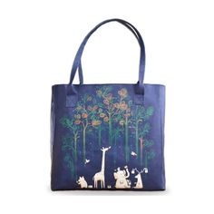 A stylish, unique & colourful vegan leather tote bag printed with Radiomode's stunning 'Paint The Rainforest' design.