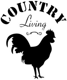 Country Living Stencil What a fun Old Fashioned stencil to play around with ! This stencil will look great in country inspired kitchens, breakfast nooks or even dining areas, Silhouette Cameo Projects, Silhouette Design, Rooster Stencil, Stencil Wood, Farm Art, Wood Burning Patterns, Stencil Templates, Fashion Painting, Cricut Vinyl