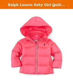 Ralph Lauren Baby Girl Quilted DOWN Jacket 6 Month Pink. Fully lined and filled. 650-fill-power down. Fill power measures the loft of the down and ranges from 450 to 1,000 for apparel. Shell and lining: 100% polyester. Fill: 75% down, 25% other feathers. Machine washable. Signature embroidered pony at the left chest. Hood. Full front zip. Long sleeves with elasticized cuffs. Welt pockets. Elasticized interior hem. Imported.