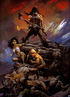 Fire and Ice The Official Movie Poster for 'Fire and Ice' the 1983 film brought to you by fantasy artist, Frank Frazetta, and director, Ralph Bakshi. Original artwork by Frank Frazetta © Frazetta Girls LLC 2020 All Rights Reserved Dark Fantasy Art, Fantasy Kunst, Fantasy Artwork, Fantasy World, Comic Books Art, Comic Art, Conan O Barbaro, Science Fiction, Robert E Howard