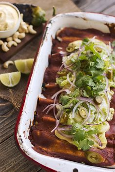 Grain-free Veggie Enchiladas with Roasted Hatch Chile Cashew Cream