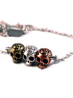 "Women's ""Triple Calavera Sugar Skull"" Necklace by Diamonds And Coal (Multi) #InkedMagazine #skull #necklace #jewelry"