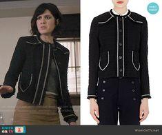 Laurel's black tweed jacket with white trim on BrainDead.  Outfit Details: https://wornontv.net/58829/ #BrainDead
