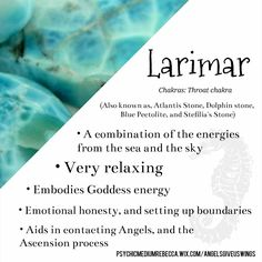 Larimar crystal meaning and healing energy Crystal Magic, Crystal Healing Stones, Crystal Shop, Crystal Guide, Crystals And Gemstones, Stones And Crystals, Gem Stones, New Energy, Crystal Meanings