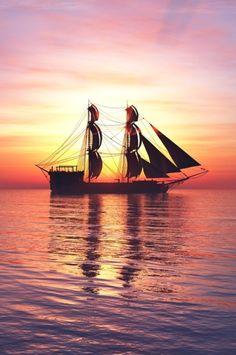 wavemotions: Sailing and sunset by Juanjo Tugores Ocean Sailing, Sailing Ships, Beautiful Ocean, Beautiful Sunrise, Beyond The Sea, Yacht Boat, Sail Away, Tall Ships, Water Crafts