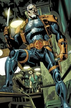 Deathstroke (Slade Wilson), he was part of an experimental super-soldier project where he gained enhanced strength, agility and intelligence.