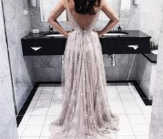 The Charming Lace and Tulle Prom Dresses,V-Neck Backless Prom Dresses,Prom Dresses,Floor-Length Prom Dress
