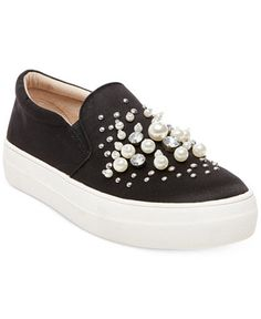 ff880a59b0988 Steve Madden Women s Glamour Pearl-Embellished Sneakers - Sneakers - Shoes  - Macy s Cute Sneakers