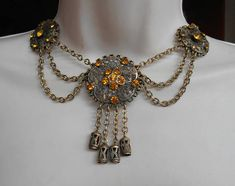 Victorian Festoon Bib Necklace Gilt Brass Filigree Dangle