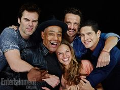 Revolution's Billy Burke, Giancarlo Esposito, Tracy Spiridakos, David Lyons, JD Pardo. They're all smiling, which never happens on the show.