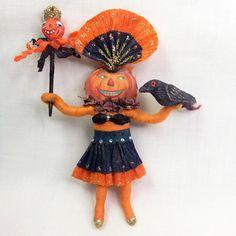 Spun Cotton Halloween Ornament Pumpkin Carnival parade Dancer ~ By Arbutus Hunter