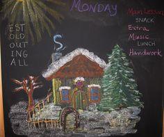 Winter House School Chalkboard drawing.
