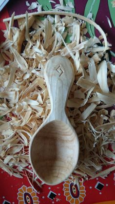Ash medieval travellers spoon with J rune. Commission. Ian Baird, Dorset.