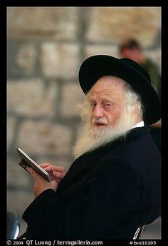 Elderly orthodox jew, Western (Wailling) Wall. Jerusalem, Israel
