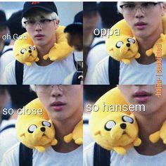 Jake the dog you're so lucky! Seokjin is so HANSEM Ahaha ❤ #BTS #방탄소년단