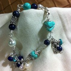 Photo by Farida Somjee - turquoise, lapiz lazuli and fresh water pearls.