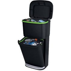 Rubbermaid Double Decker Recycling Modular Bin with LinerLock. TheRubbermaid Recycling Modular Bin makes recycling easy! This two-unit bin allows you to either contain trash and recyclables all in one location, or sort recyclables. Garbage Recycling, Recycling Containers, Recycling Bins, Recycling Ideas, Compost, Garage Workshop Organization, College Organization, Organizing Ideas, Recycling Center