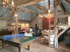 """Glass ceiling """"barn"""" room or pool house. I would create a retractable ceiling with the glass roof."""