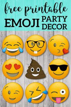 Birthday party or baby shower or decoration with poop emoji and smily emojis. Free Emoji Printables, Party Printables, Diy Hanging Shelves, Emoji Faces, Mason Jar Diy, Smiley, Birthday Parties, Free Birthday, 7th Birthday