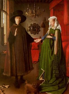 <아르놀피니 부부의 초상>, 얀 반 에이크.   사실적이고 정밀한 세부 표현과 공간적 깊이감이 돋보이는 작품이다. 약혼식에서는 남자가 결혼할 의사를 물으면 여자는 승낙의 의미로 손을 내민다고 한다. 신랑은 엄숙하게 약혼에 대한 맹세를 한다. 일반적으로 결혼은 교회에서 신부 앞에서 하는 것인데 입회인 두사람만 놓고 하는 것으로 보아 몰래하는 결혼인 것 같다.