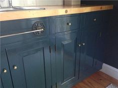 Kitchen cabinet make-over with Farrow & Ball Hague Blue - traditional - kitchen - new york - Ridgefield Kitchen Revival, LLC Kitchen Cupboard Colours, Kitchen Colors, Kitchen Ideas, Kitchen Units, Farrow Ball, Kitchen Cabinets Farrow And Ball, Hague Blue Kitchen, Entry Doors With Glass, Glass Doors