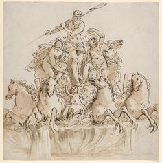 Francesco Fontebasso (Italian, 1707–1769). Design for a Fountain with Neptune in his Chariot, ca. 1740–60. The Metropolitan Museum of Art, New York. Purchase, Mary Oenslager Fund, Sotheby's and Joseph F. McCrindle Gifts, Susan H. Seidel and Van Day Truex Funds, 2013 (2013.543) #horses
