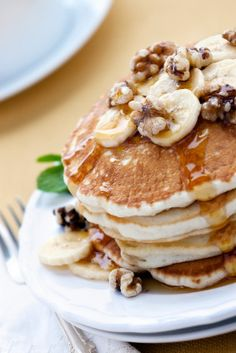 whole wheat banana pancakes - these were yummy with bananas, syrup, and walnuts on top!