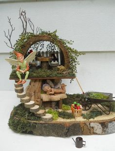 Two Level Fairy House, Garden Display for OOAK or Other Collectible Fairies