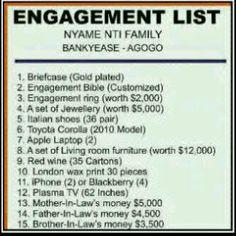 Yoruba Engagement List | friend of mine Got this.