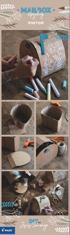 #DIY Des mailbox en carton à réaliser soi même et à personnaliser avec les marqueurs peinture PINTOR @pilotpenfrancers #pintorDIY #Upcycling #cardboard #cardboarddiy #customyourstory Cardboard Paper, Cardboard Crafts, Diy Paper, Papier Diy, Diys, Scrap, Craft Ideas, Children, Christmas