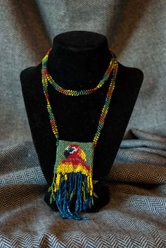 Beadwoven Amulet Bag: Tropical Friend. $40.00, via Etsy.