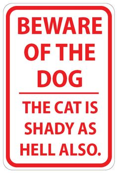 Beware of Dog and Shady Cat Sign. Mine needs to say CATS, then it would be perfect for our home LOL Cat Signs, Funny Signs, Crazy Cat Lady, Crazy Cats, Haha Funny, Hilarious, Funny Stuff, Funny Shit, Random Stuff