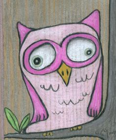 'Cute Pink Owl' by Cathy Dailey