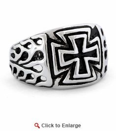 Stainless Steel Flaming Double Iron Cross Ring