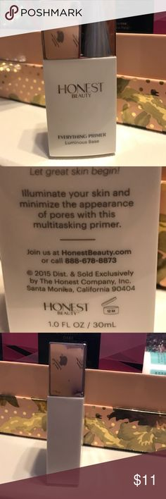 "Honest beauty ""everything primer"" luminous base All my beauty products come brand new, untouched and unused. This is s fantastic brand and this is the opportunity to try before you buy the full size product at a great price. Wish we all had opportunities before investing in the full size product only to be disappointed and find out it doesn't work for us. But this brand has been highly reviewed abd becoming one of the fastest growing make up lines. BNWT. The Honest Company Makeup Face Primer"